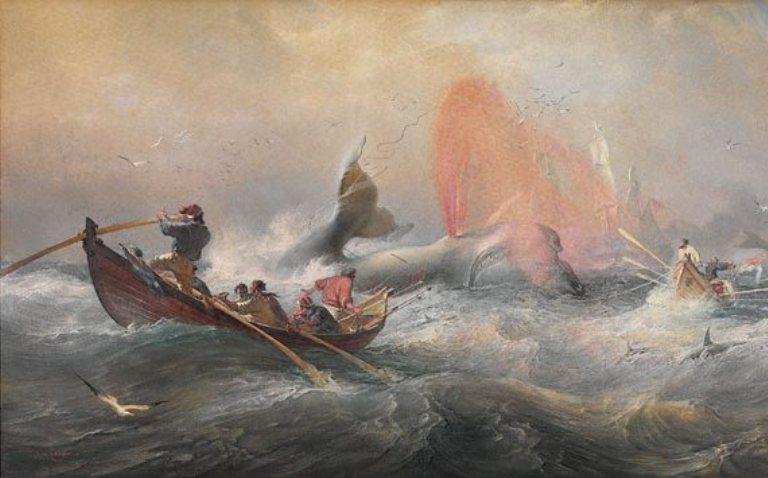 walvisvaarders bij de kust van australië, geschilderd door oswald brierly in 1867
