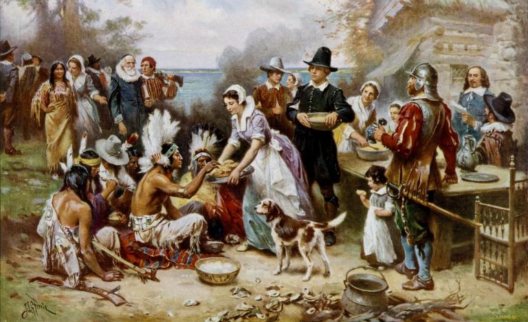 de eerste thanksgiving in 1621, geschilderd door jean ferris in 1915