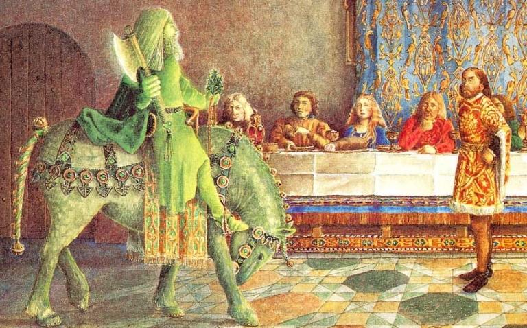 de groene ridder arriveert, door juan wijngaard, met toestemming gebruikt