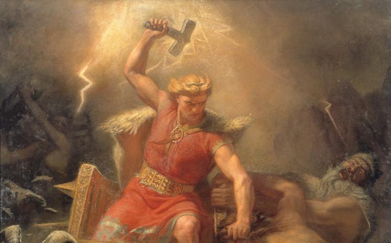 thor vecht met de jǫtnar, geschilderd door mårten eskil winge in 1872